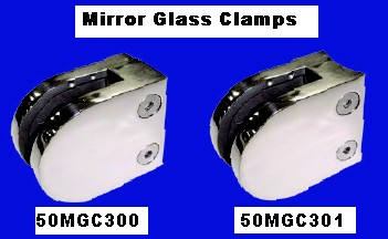 316 Mirror Round & Flat Back Glass Clamps. Suit 6 & 8mm Glass. Others available for 10-12mm glass.