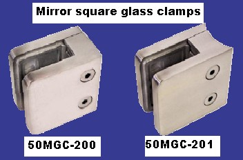 316 Mirror Round & Flat Back Glass Clamps.  Suit 8,10,12mm Glass.